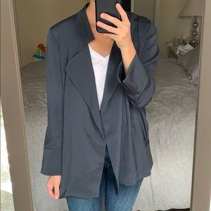 Diane von Furstenberg Blue Drapped Silky Jacket